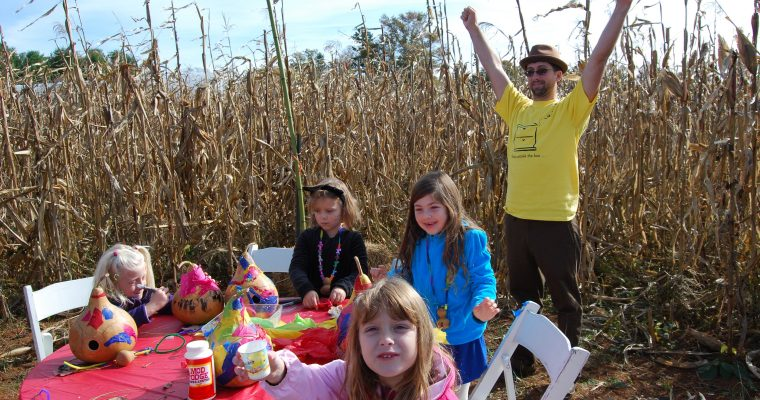 a[maize]ing corn maze party w/ gourd fairy houses!